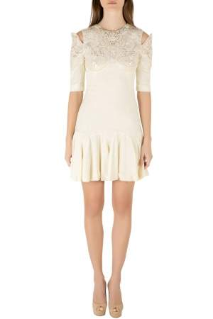 Alexander McQueen Buttercream Crepe Embellished Cold Shoulder Godet Dress S