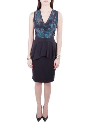 Marchesa Voyage Black Ikkat Print Silk Sleeveless Peplum Dress M