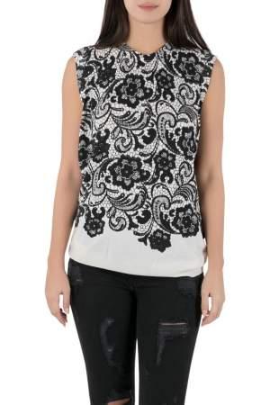 Dolce & Gabbana Monochrome Lace Print Wool Sleeveless Top L