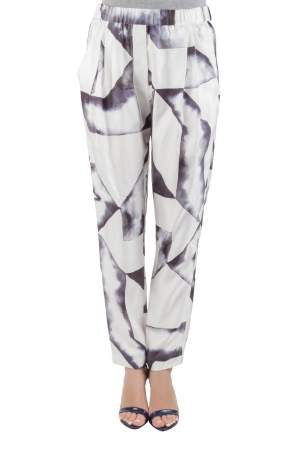 3.1 Philip Lim Monochrome Geometric Print Silk Twill Relaxed Trousers S