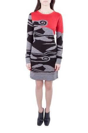 Diane von Furstenberg Multicolor Intarsia Cloud Patterned Wool Sweater Dress S
