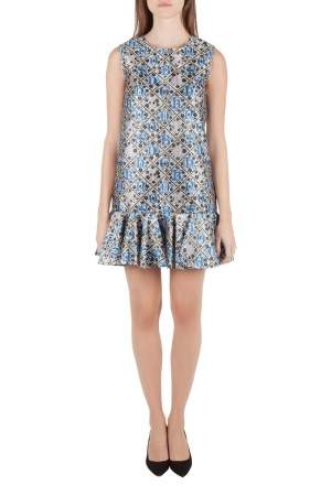 Mary Katrantzou Silver and Blue Metallic Drop Waist Jaspa Dress S