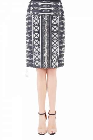 Tory Burch Monochrome Patterned Tweed Savora Pencil Skirt S