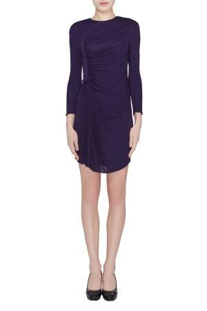 3.1 Phillip Lim Purple Jersey Ruched Front Draped Long Sleeve Dress XS