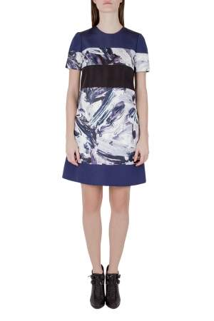 Prabal Gurung Multicolor Brush Stroke Printed Paneled Shift Dress S