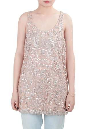 Vera Wang Collection Blush Pink Sequin Embellished Tulle Overlay Sleeveless Top S