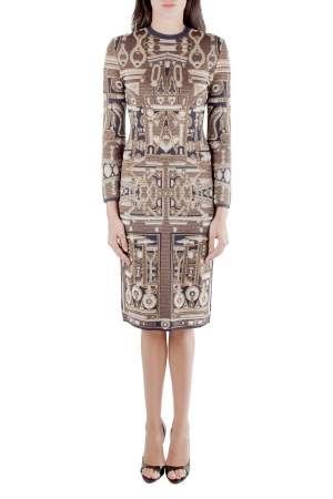 Mary Katrantzou Metallic Gold and Navy Blue Jacquard Knit Midi Dress XS