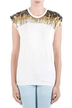 Vionnet Off White Jersey  Embellished Yoke Detail Sleeveless T-Shirt L