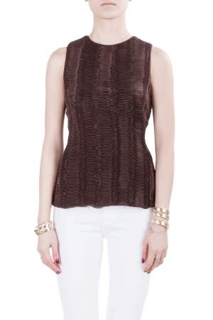 Giorgio Armani Brown Accordion Pleated Textured Silk Sleeveless Top S