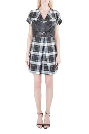 McQ by Alexander McQueen Tartan Wool Leather Corset Belt Dress M