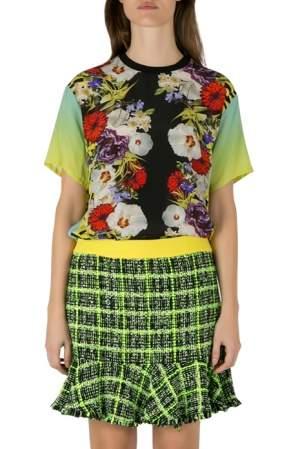 Versace Multicolor Floral Print Silk Ombre Sleeve Detail Crew Neck T Shirt M