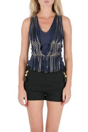 Philosophy Blue Silk Gathered Pleat Front Metal Chain Detail Sleeveless Top S