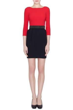 Alice + Olivia Red and Black Crepe Ira Sheath Dress S