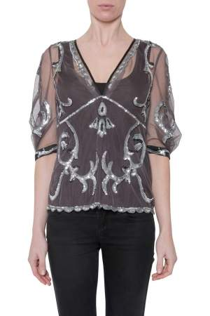 Temperley London Slate Grey Sheer Hayward Sequined Tulle Lauren Top M