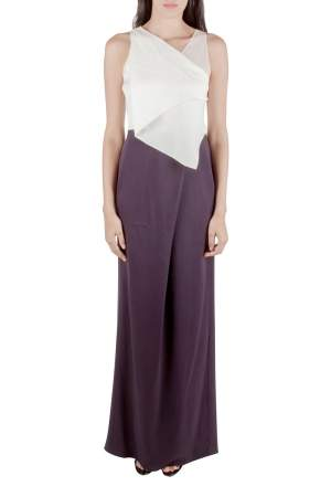 3.1 Phillip Lim Ivory and Indigo Draped Front Asymmetric Neck Evening Gown S
