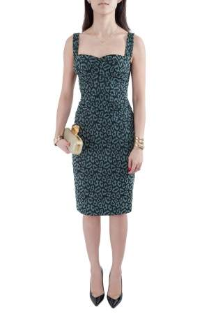 Zac Posen Green Leopard Patterned Jacquard Draped Bustier Dress M