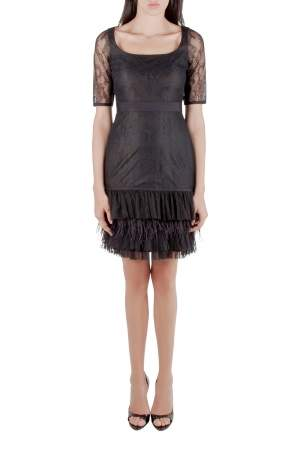 Marchesa Notte Black Lace Ruffle Tiered Hem Feather Insert Cocktail Dress M