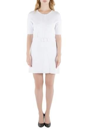 فستان سكيتر كارفن تريكو أبيض مضلع بأكمام قصيرة L