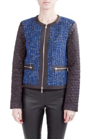Michael  Kors Blue and Black Tweed Quilted Sleeve Detail Zip Front Jacket S