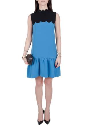 Victoria Victoria Beckham Blue Contrast Scalloped Yoke Flounce Dress M