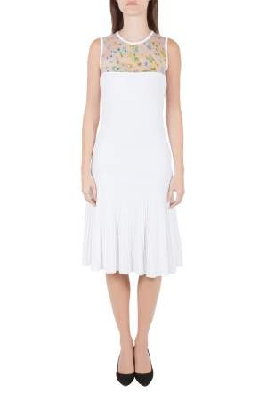 Versace White Stretch Crepe Floral Printed Sheer Yoke Sleeveless Dress S