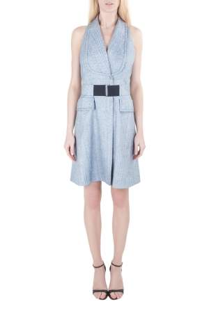 Viktor & Rolf Blue Textured Blazer Style Sleeveless Belted Dress L