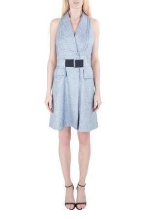 Viktor & Rolf Blue Textured Blazer Style Sleeveless Belted Dress L