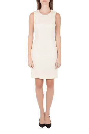 Versace Cream Knit Rose Gold Medusa Button Detail Sleeveless Fitted Dress M