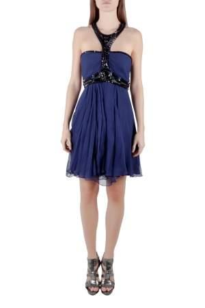 Temperley London Blue Plisse Silk Embellished Strapless Mini Dress M