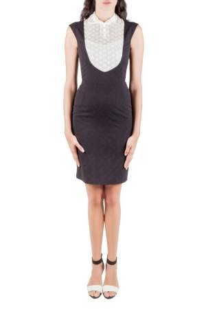 Paul & Joe Black Jacquard Lace Bib Detail Rythme Sleeveless Dress S