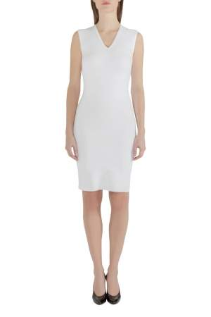 Dsquared2 Off White Stretch Rib Trim Sleeveless Tank Dress M