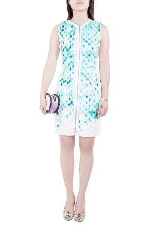 Elie Tahari Blue Cool Water Print Sleeveless Zip Front  Mila Dress S