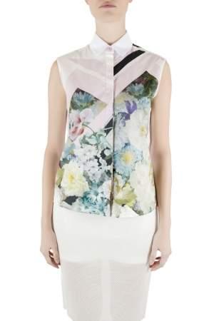 Preen by Thornton Bregazzi Multicolor Digital Floral Print Cotton Warren Sleeveless Shirt XS