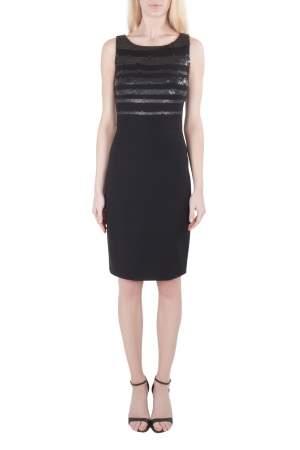 فستان جيسون وو جيرسية مزخرف بترتر بلا أكمام أسود S