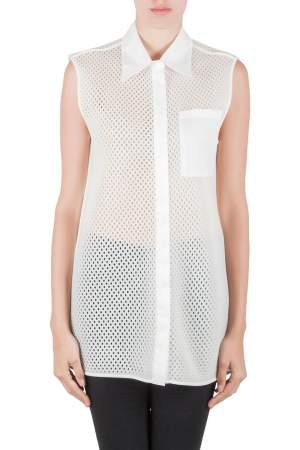 Acne Studios White Perforated Mesh Sleeveless Adelia Shirt M