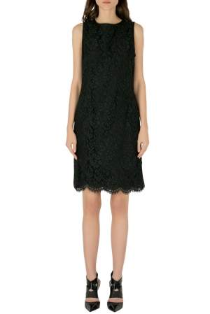 Emanuel Ungaro Collection Black Floral Lace Scalloped Hem Sleeveless Dress L