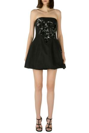 Marchesa Notte Black Cotton Silk Floral Sequined Appliqué Strapless Mini Dress S