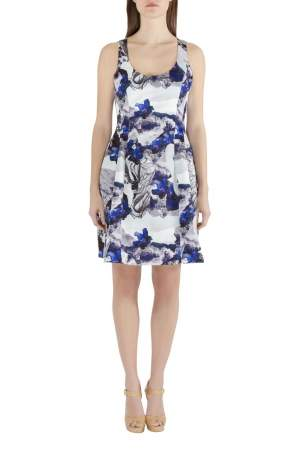Prabal Gurung Purple Rorschach Floral Print Satin Sleeveless Fit and Flare Dress M