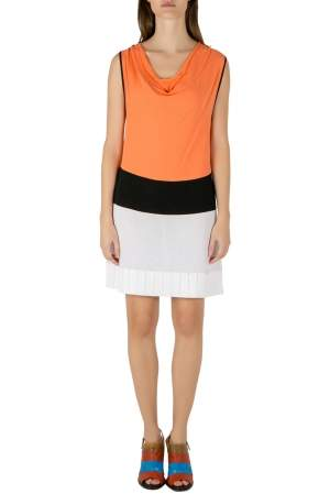 Blumarine Orange and White Colorblock Knit Drop Waist Sleeveless Dress L