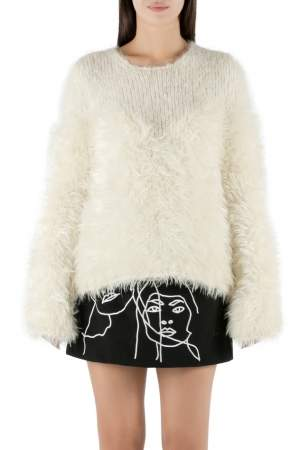 Alexander McQueen Ivory Mohair and Wool Hairy Knit Crew Neck Jumper M