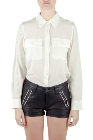 Marc Jacobs Ivory Silk Epaulette Detail Button Front Shirt M