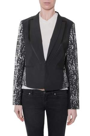 Diane von Furstenberg Black Crepe Jacquard Paneled Olena Jacket M