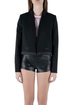 Isabel Marant Black Wool Satin Trim Jamet Cropped Jacket M