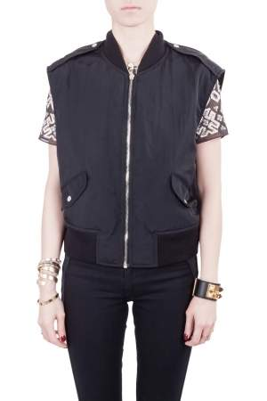 McQ by Alexander McQueen Black Twill Zip Front Sleeveless Bomber Jacket M