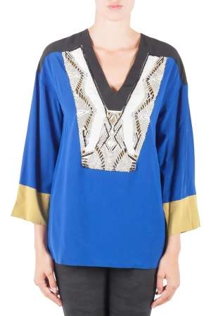 Etro Colorblock Silk Embellished Yoke Long Sleeve Tunic M