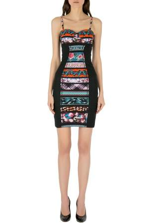 Jean Paul Gaultier Soleil Multicolor Printed Bustier Bodycon Dress XS