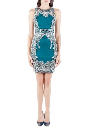 Badgley Mischka Collection Teal Green Floral Sequin Embellished Sleeveless Cocktail Dress XS
