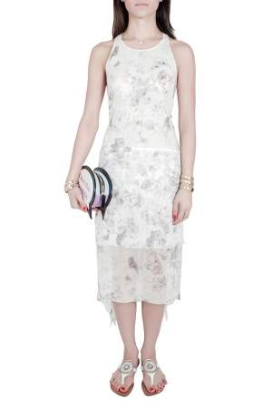Elizabeth and James Pale Grey Floral Print Silk Embellished Handkerchief Hem Maylie Dress M