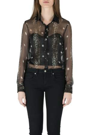 Philip Plein Collection Black Star Print Sheer Silk Button Down Shirt S