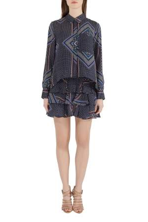Derek Lam 10 Crosby Blue Printed Silk Tiered Dress and Blouse Set M
